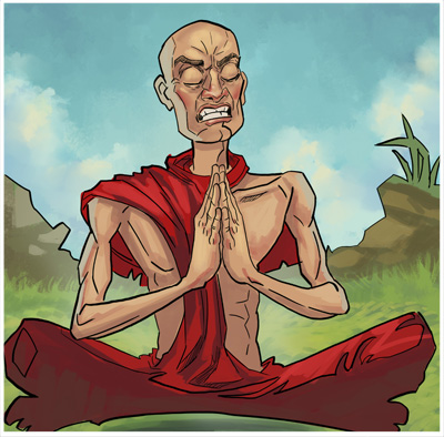 A grimacing monk in painful prayer